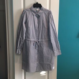 Long Sleeve Blue and White Shirt Dress *Worn Once*